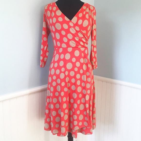 e29a3554b922 Boden Dresses & Skirts - Boden Coral & Tan Polka Dot Faux Wrap Dress